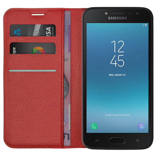 Leather Wallet Case Card Holder Pouch - Samsung Galaxy J2 Pro - Red